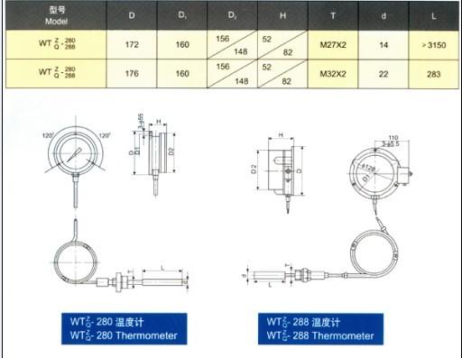 电接点温度计   型号;HC-WTQ-288